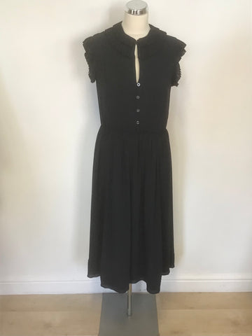 ALICE BY TEMPERLEY NAVY BLUE SLEEVELESS FRILL TRIM MIDI TEA DRESS SIZE 12