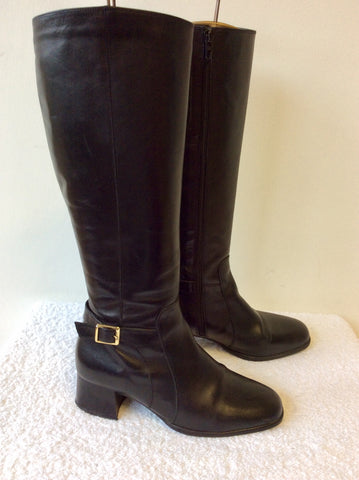 CLARKS BLACK LEATHER BUCKLE TRIM KNEE LENGTH BOOTS SIZE 5.5/38.5