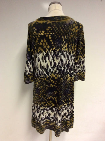 ETINCELLE COUTURE BROWN PRINT SHORT SLEEVE LONG JUMPER/ MINI DRESS SIZE 4 UK 14/16