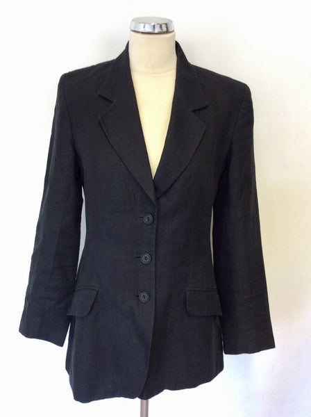 MULBERRY BLACK LINEN SUIT JACKET SIZE 10