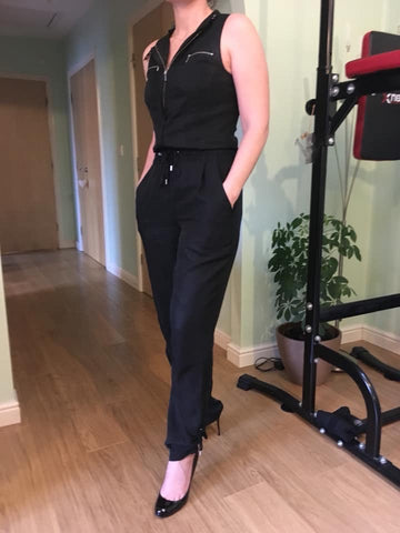 KAREN MILLEN BLACK SLEEVELESS ZIP TRIM JUMPSUIT SIZE 10