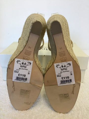 BRAND NEW LK BENNETT GOLD LEATHER ESPADRILLE WEDGE HEEL SANDALS SIZE 5/38