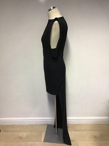 AQUA BLACK SLEEVELESS SHORT FRONT & FULL LENGTH BACK DRESS SIZE 8