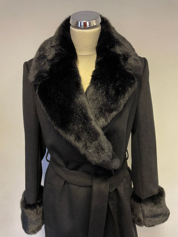 BRAND NEW JAEGER BLACK WOOL WITH FAUX FUR COLLAR & CUFFS BELTED KNEE LENGTH COAT SIZE 10
