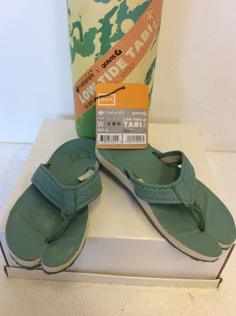 662442954073 MAHARISHI LOW TIDE TABI TEAL LEATHER TOE POST FLIP FLOPS SIZE 3.5 36 ...