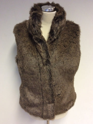 MARKS & SPENCER BROWN FAUX FUR GILET SIZE 14