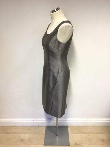 LK BENNETT SILVER GREY SLEEVELESS SILK & WOOL BLEND PENCIL DRESS SIZE 10