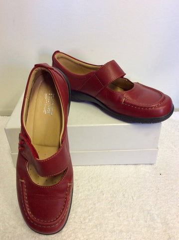 BRAND NEW HOTTER COMFORT CONCEPT RED LEATHER VELCRO STRAP SHOES SIZE 7.5/41