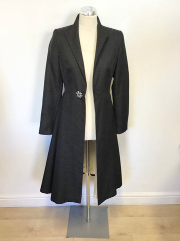 BRAND NEW MONSOON BLACK EMBOSSED PRINT SPECIAL OCCASION COAT SIZE 8