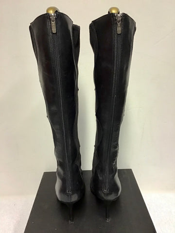 ANNE KLEIN BLACK LEATHER & SUEDE KNEE LENGTH BOOTS SIZE 7/40