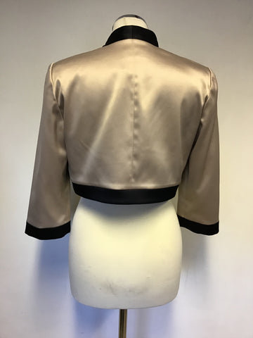 BRAND NEW PLANET OYSTER BEIGE & BLACK TRIM SATIN BOLERO JACKET SIZE 10