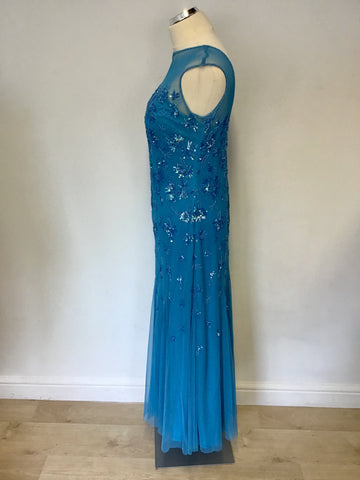 BRAND NEW MONSOON TURQOUISE BEADED & SEQUINNED LONG EVENING DRESS SIZE 14
