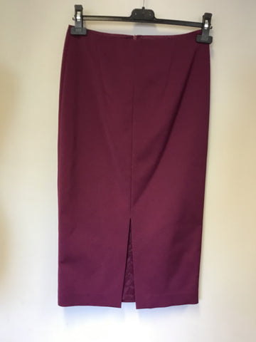 LK BENNETT CALIA MULBERRY CALF LENGTH PENCIL SKIRT SIZE 8