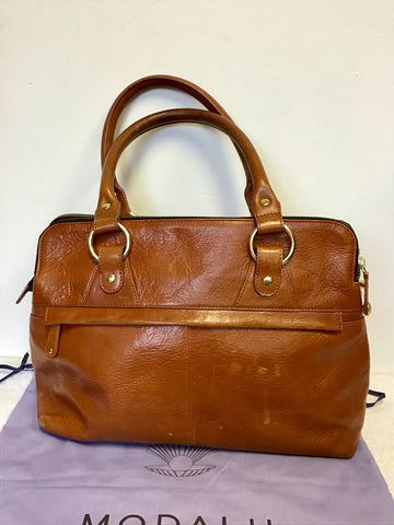 MODALU PIPPA CHESTNUT BROWN LEATHER TOTE BAG