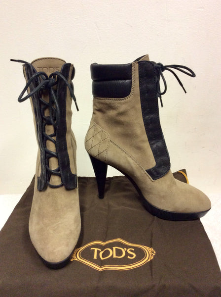 NEW TOD'S BROWN SUEDE & LEATHER LACE UP ANKLE BOOTS SIZE 3.5/36