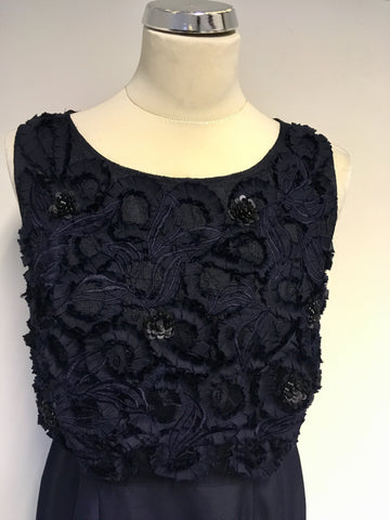 MONSOON DARK BLUE APPLIQUÉ & SEQUIN TRIM TOP SPECIAL OCCASION DRESS SIZE 12