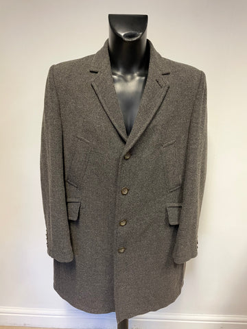 TED BAKER GREY HERRINGBONE WOOL BLEND OVERCOAT SIZE 6 UK XL