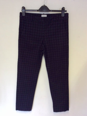 JIGSAW BLACK & NAVY CHECK CAPRI PANTS SIZE 10
