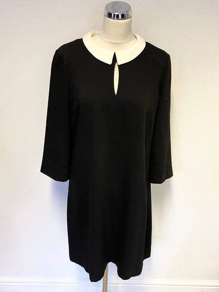 HOBBS BLACK & WHITE DETACHABLE COLLAR 3/4 SLEEVE A LINE SHIFT DRESS SIZE 14