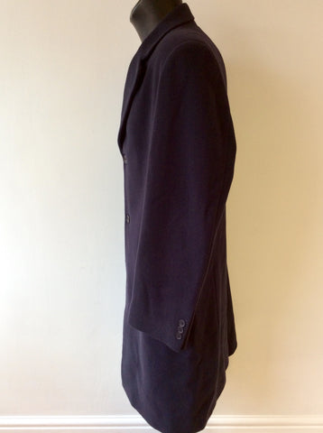 ITALIAN ALESSANDRO DARK BLUE WOOL & CASHMERE BLEND COAT SIZE 52 UK 42