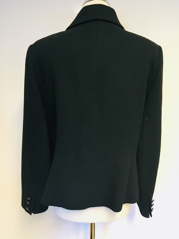 HOBBS BLACK DOUBLE BREASTED WOOL JACKET SIZE 16