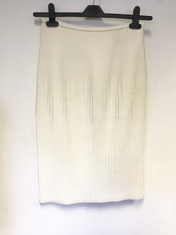 MAISON ULLENS IVORY SILK BLEND STRETCH PENCIL SKIRT SIZE S