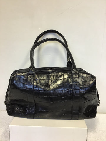OSPREY BLACK MOCK CROC LEATHER SHOULDER BAG