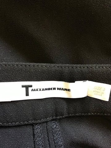 BRAND NEW ALEXANDER WANG BLACK PLEAT FRONT WIDE LEG CROP TROUSERS SIZE 0 UK 4/6