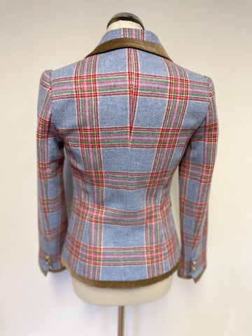 JOULES LIGHT BLUE & RED CHECK 100% WOOL JACKET SIZE 8