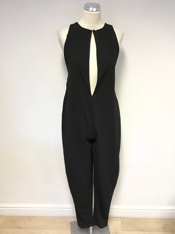AQ/AQ NEW KLUM BLACK EXTENDED KEY HOLE FRONT RACE BACK JUMPSUIT SIZE UK 4