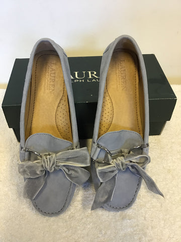 BRAND NEW RALPH LAUREN LIGHT BLUE SUEDE BOW TRIM LOAFERS SIZE 5/38