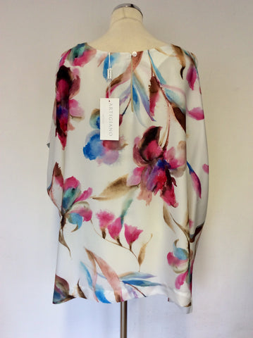 BRAND NEW ARTIGIANO WHITE FLORAL PRINT SHORT SLEEVE TOP SIZE 24