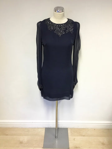 FRENCH CONNECTION BLUE SILK BEADED TRIM SPECIAL OCCASION DRESS SIZE 10