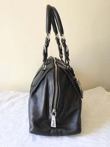 PRADA BLACK LEATHER ZIP TOP SHOULDER BAG