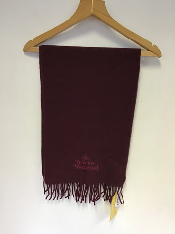 BRAND NEW IN BOX VIVIENNE WESTWOOD BORDEAUX 100% WOOL SCARF