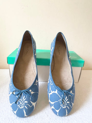 BRAND NEW BODEN BLUE FLORAL PRINT CANVAS & LEATHER BALLERINA FLATS SIZE 7.5/41