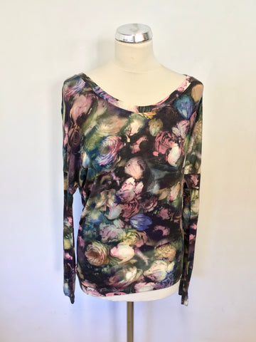 PAUL SMITH FLORAL PRINT SCOOP NECKLINE LONG SLEEVE TOP SIZE S