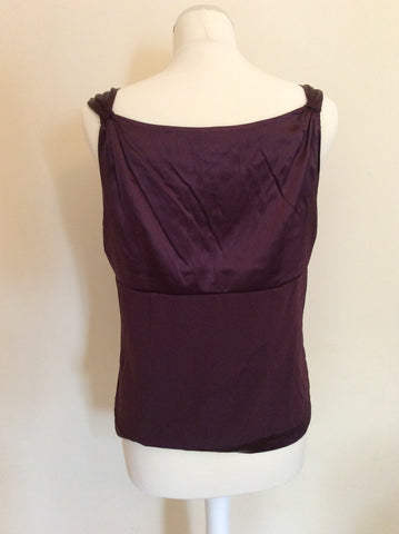 HOBBS AUBERGINE SILK SLEEVELESS TOP SIZE 14