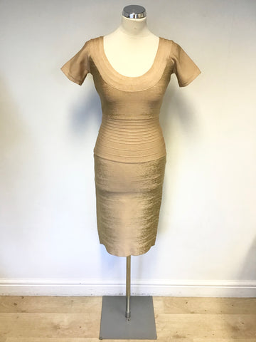 SARA BERNSHAW NUDE & GOLD STRETCH BODYCON SPECIAL OCCASION DRESS SIZE 10
