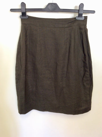 JIGSAW DARK GREEN LINEN SHORT SLEEVE JACKET & WRAP SKIRT SUIT SIZE 8/10