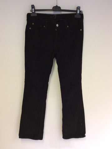 7 FOR ALL MANKIND BLACK CORD JEANS SIZE 27W / 33 L