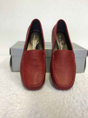 BRAND NEW JANE SHILTON ISABELLA RED LEATHER LOAFER FLATS SIZE 4/37