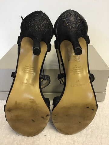 NINE WEST CHARCOAL SPARKLE STRAPPY HEEL SANDALS SIZE 4.5 / 37.5