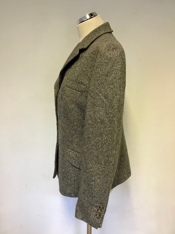 HOBBS BEIGE,GREY & BLUE MARL WOOL & SILK BLEND JACKET SIZE 16