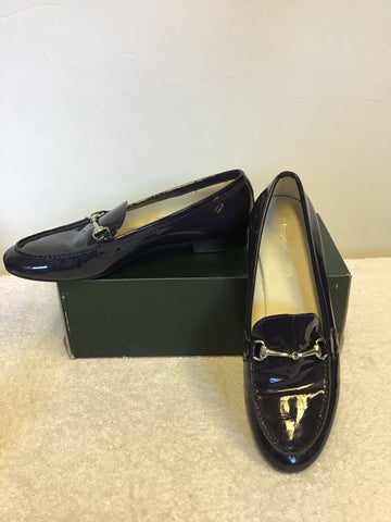 RUSSELL & BROMLEY NAVY BIUE PATENT LEATHER LOAFERS SIZE 4/37
