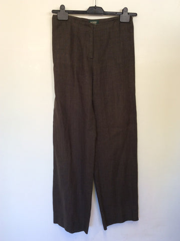 HOBBS BROWN LINEN TROUSERS SIZE 10