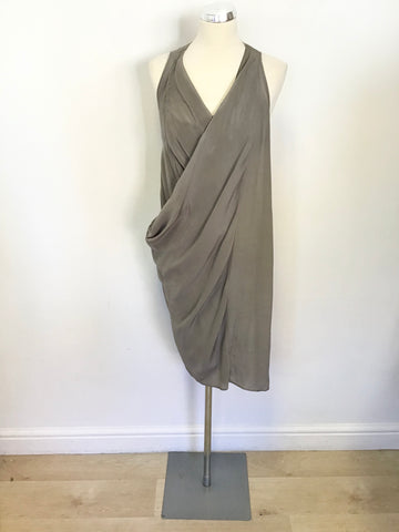 ALL SAINTS MINK GREY IRROCHKA SILK DRAPED DRESS SIZE 10