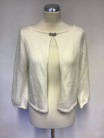 BRAND NEW MARKS & SPENCER AUTOGRAPH WINTER WHITE ANGORA BLEND CARDIGAN SIZE 14