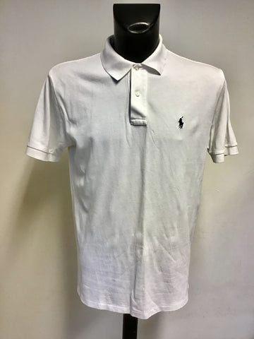 RALPH LAUREN WHITE SHORT SLEEVE COTTON POLO SHIRT SIZE M