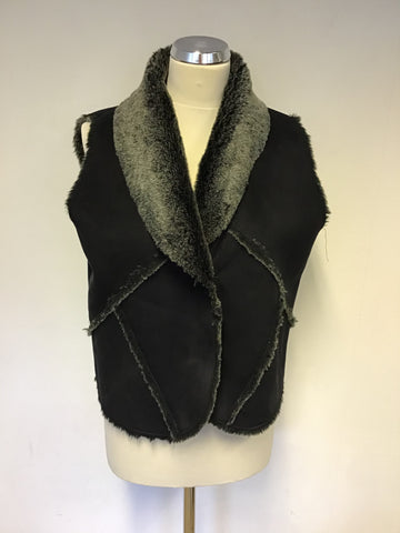 LAURA ASHLEY BLACK FAUX SUEDE & GREY FAUX FUR GILLET SIZE 14